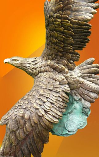 EAGLE OR OSPREY, IN FLIGHT PURE BRONZE STATUE